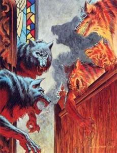 Eine von Wrightsons Illustrationen aus 'Das Jahr des Werwolfs'