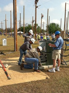 "CPS Energy journeyman team tackles the ""URD elbow change-out"" in Kissimmee last month."