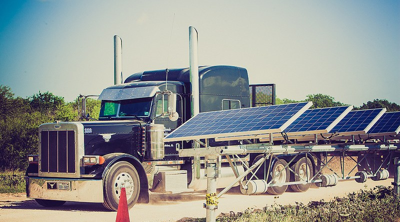 (Image) Alamo I solar farm with tractor trailer in background