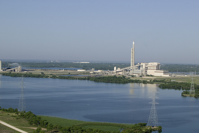 (Image) The silos topped by the cascade housing are visible on the right in this photo of the Deely coal plant.