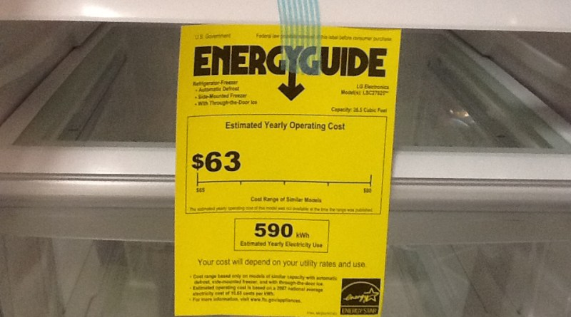 (Image) Energy Guide sticker on refrigerator