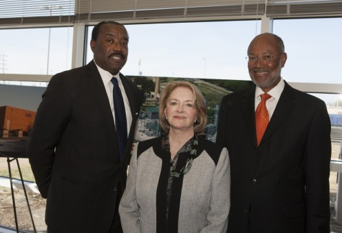 Current CEO Doyle Beneby poses with former CPS Energy CEOs Jamie Rochelle, center, and Milton Lee.