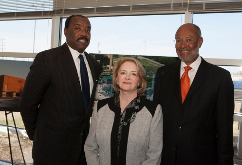 (Image) Current CEO Doyle Beneby poses with former CPS Energy CEOs Jamie Rochelle, center, and Milton Lee.