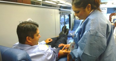 (Image) VP of External Relations Rudy Garza gives blood as S. Texas faces a shortage.