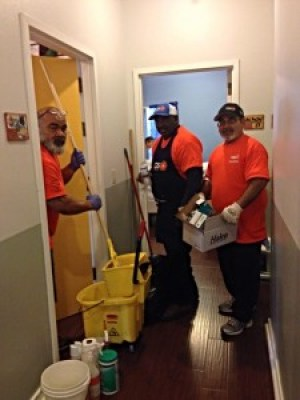 Our team members are not afraid of a little mop and cleaning supplies.