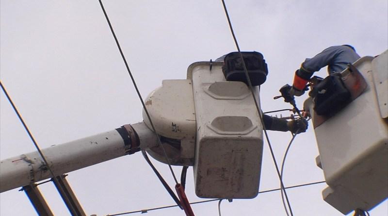 (Image) Storm restoration buckets at line