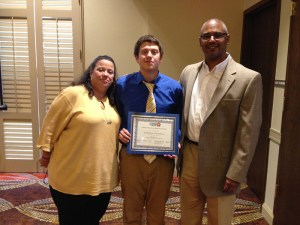 (Image) Edison High School Senior Dominic Carrasco is one of 27 graduates involved in the Inspire U program. Carrasco recently celebrated with his mom, Barbara Daughtry, and his mentor, CPS Energy Manager Mike Malone at an end of year luncheon.