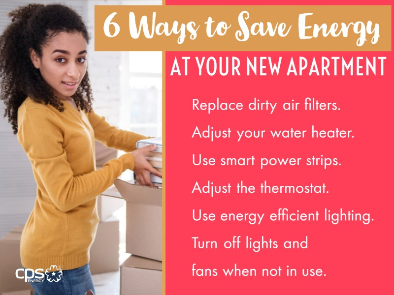 (Image) 6 Ways to Save Energy graphic. Replace dirty air filters. Adjust your water heater. Use smart power strips. Adjust the thermostat. Use energy efficient lighting. Turn off lights and fans when not in use.