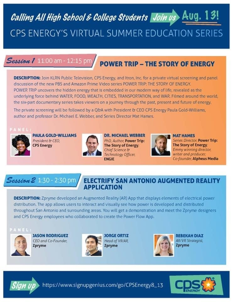 (Image) Poster calling all high school & college students. August 13. CPS Energy's virtual summer education series.