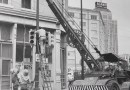 Photo of CPS Energy crew working in Downtown San Antonio in 1950
