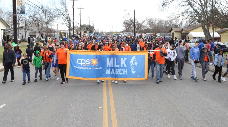CPS Energy team walking together in MLK march in 2020