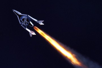 Virgin Galactic's Spaceship 2 flies through the sky