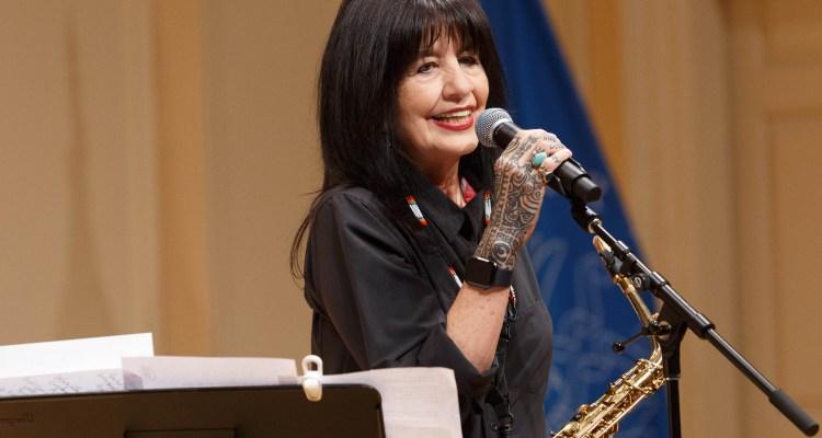 Joy Harjo with saxophone