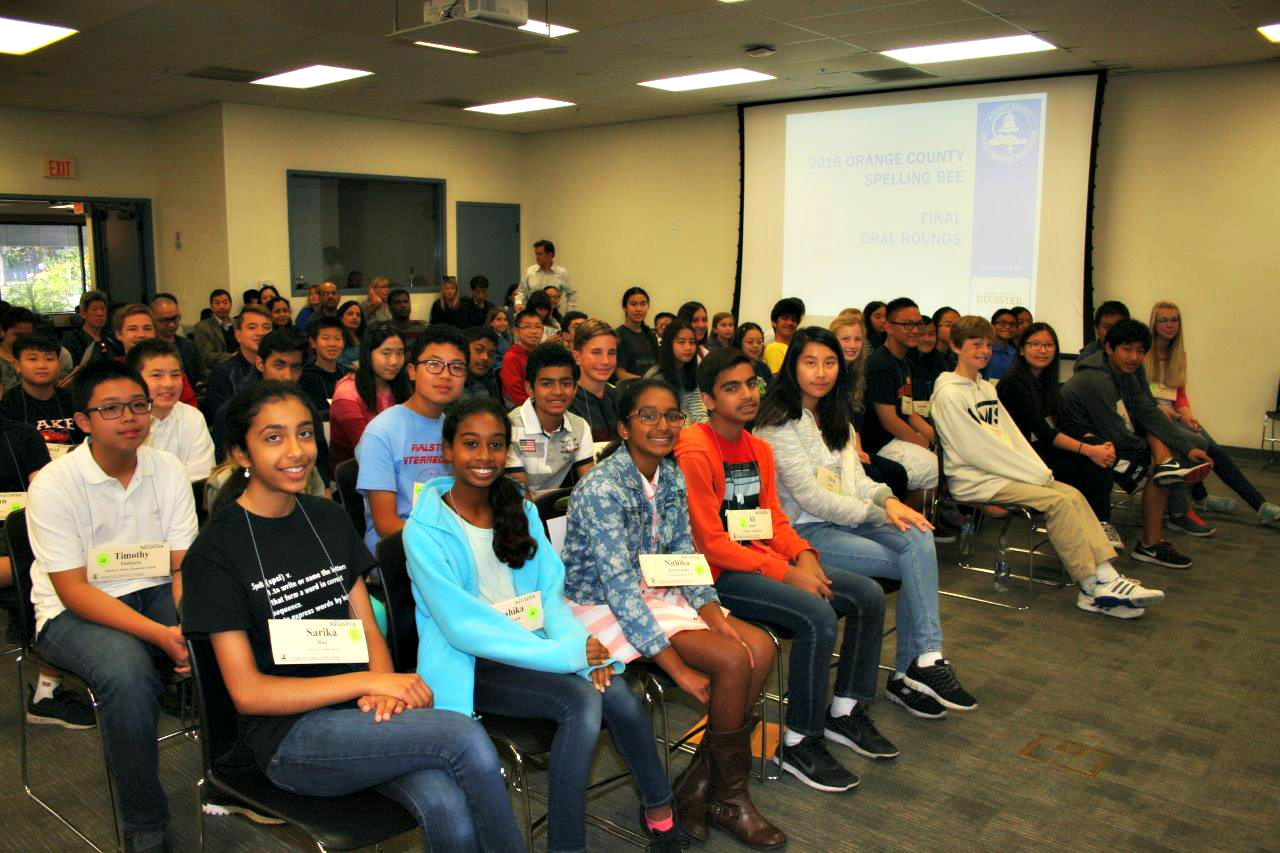 An image of students participating in the OC Spelling Bee