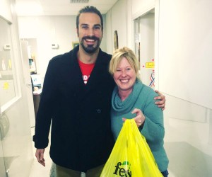 Jared Hoyer delivers cans to food bank
