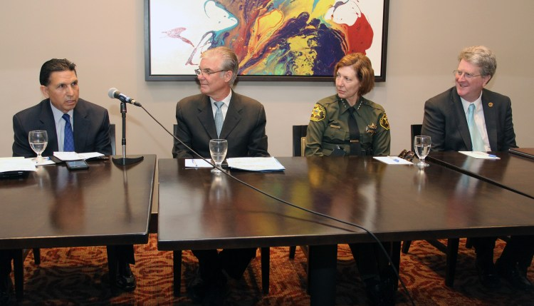 An image featuring Orange County Superintendent of Schools Dr. Al Mijares, State Superintendent of Public Instruction Tom Torlakson, Orange County Sheriff-Coroner Sandra Hutchens and California Interscholastic Federation Executive Director Roger Blake