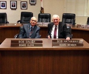 Fullerton Joint Union High School District trustees Bob Singer and Bob Hathaway