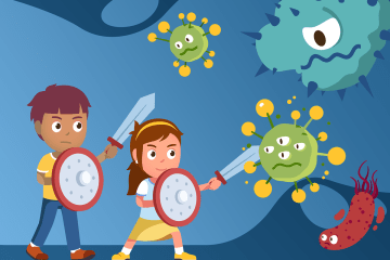 kids fighting germs cartoon