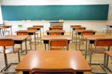 Desks in an empty classroom