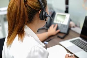 Phone operator taking calls