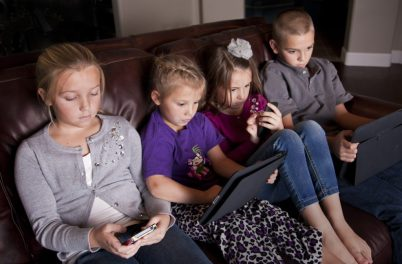 Kids using screen devices