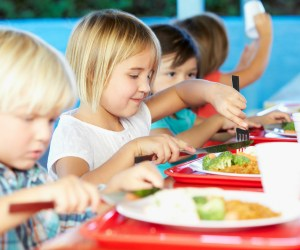 Students eating in a cafeteria
