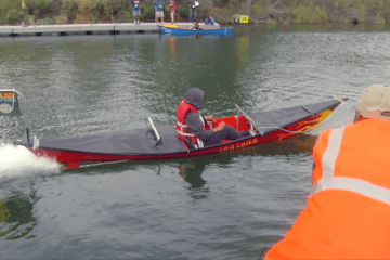 An image of a student in a boat at the the 2016 Solar Cup