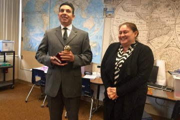 An image of Orange County Superintendent Al Mijares with Orange County Teacher of the Year Raquel Solorzano-Duenas