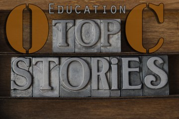 """A graphic that says """"OC Education Top Stories"""""""