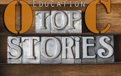 """A graphic that reads, """"OC Education Top Stories"""""""