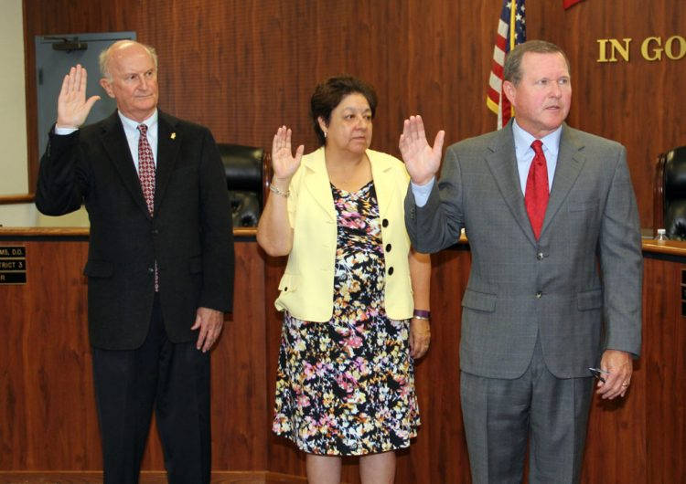An image of  Orange County Board of Education members Jack Bedell, Beckie Gomez and Ken Williams