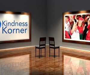 A graphic showing the Kindness Korner logo and baseball fans celebrating