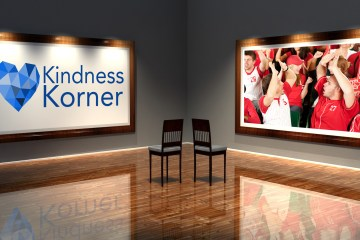 A graphic showing the Kindness Korner logo and baseball fans celebrating