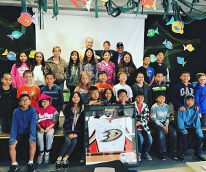 Willie O'Ree with students from Star View Elementary School