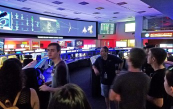 Student tour Mission Control Center at NASA's JPL