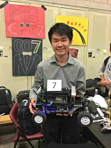 Matthew Tang and his team's autonomous vehicle