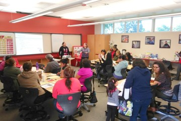 Parents attending a Parent Leadership Academy at Loara High School