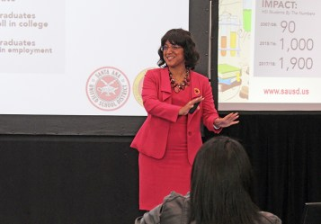 Santa Ana Unified Superintendent Stefanie Phillips speaks at an event