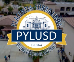 District logo and campus buildings