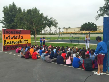 Students on the blacktop at Dysinger Elementary School