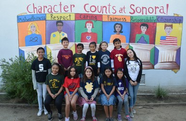 students from Sonora elementary pose for a picture