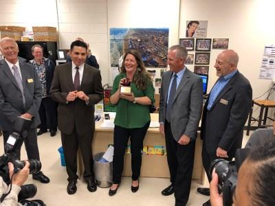 Teacher receives award from county superintendent