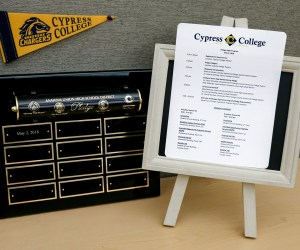 Cypress College pennant and signage