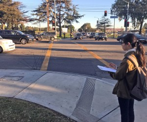 student standing on street corner surveying traffic