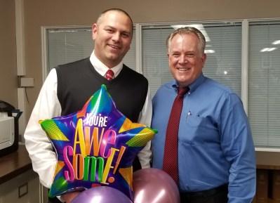 Dr. Grant Litfin and Dr. Gregory Franklin, superintendent