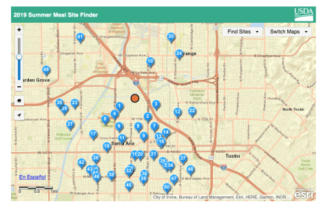 a map of sites offering free lunches
