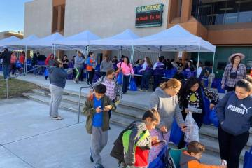 families line up for turkey give-a-way at school
