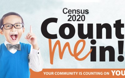 boy holds up hand in photo illustration about census