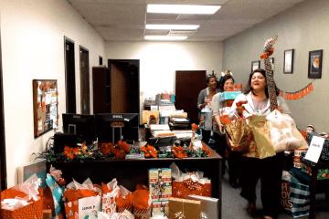 staff picks up christmas gifts