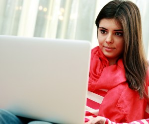 Students works on her laptop